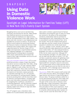 Using Data in Domestic Violence Work: Spotlight on Legal Information for Families Today (LIFT) in New York City's Family Court System Cover